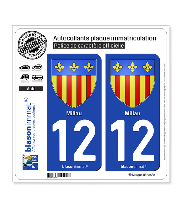 12 Millau - Armoiries | Autocollant plaque immatriculation