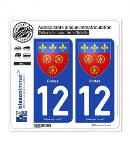 12 Rodez - Armoiries | Autocollant plaque immatriculation