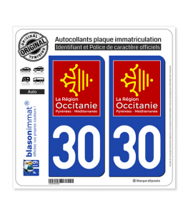 30 Occitanie - LogoType | Autocollant plaque immatriculation