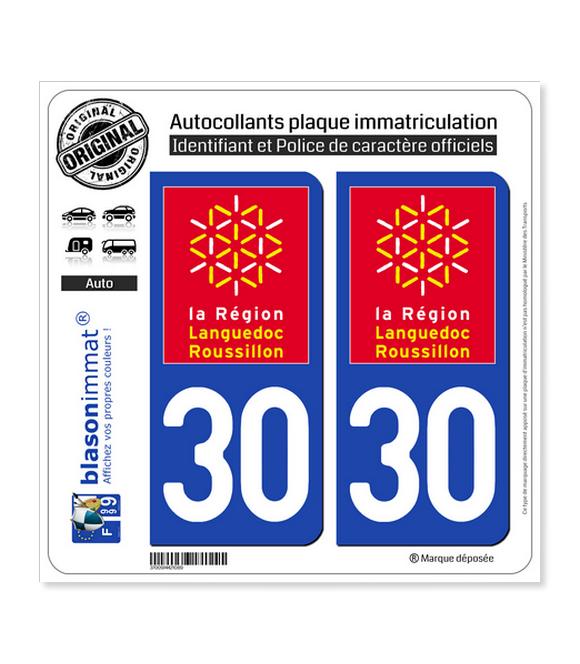 30 Languedoc-Roussillon - LogoType | Autocollant plaque immatriculation