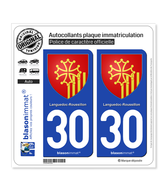 30 Languedoc-Roussillon - Armoiries | Autocollant plaque immatriculation