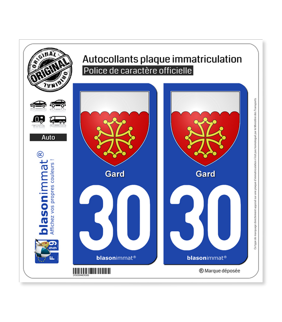 30 Gard - Armoiries | Autocollant plaque immatriculation