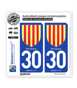 30 Provence - Armoiries | Autocollant plaque immatriculation