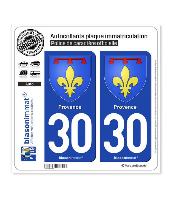 30 Provence - Armoiries II | Autocollant plaque immatriculation