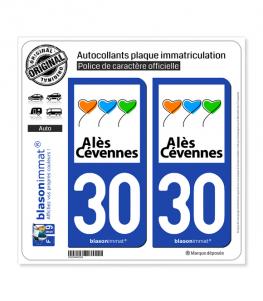 30 Alès - Ville | Autocollant plaque immatriculation