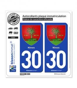 30 Nîmes - Armoiries | Autocollant plaque immatriculation