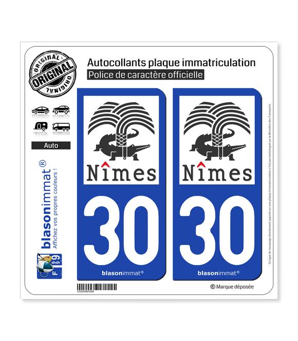 30 Nîmes - Ville II | Autocollant plaque immatriculation