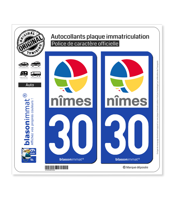 30 Nîmes - Agglo | Autocollant plaque immatriculation