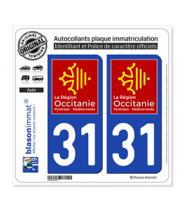 31 Occitanie - LogoType | Autocollant plaque immatriculation