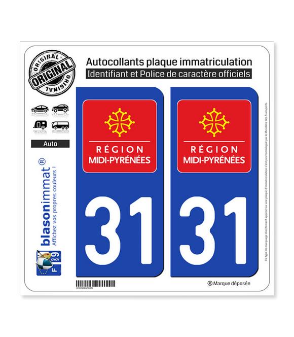 31 Midi-Pyrénées - LogoType | Autocollant plaque immatriculation