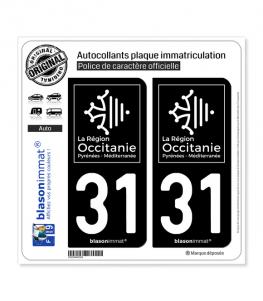 31 Occitanie - LogoType Black | Autocollant plaque immatriculation