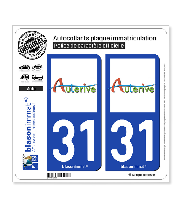 31 Auterive - Ville   Autocollant plaque immatriculation