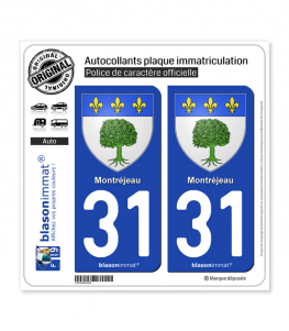 31 Montréjeau - Armoiries | Autocollant plaque immatriculation
