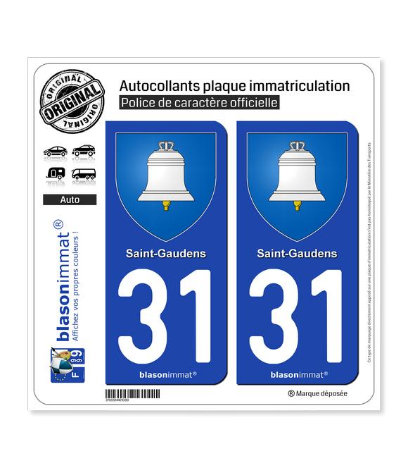 31 Saint-Gaudens - Armoiries | Autocollant plaque immatriculation