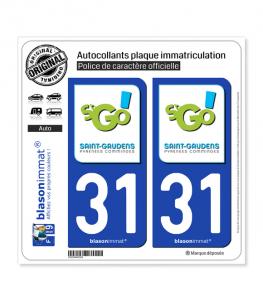 31 Saint-Gaudens - Ville   Autocollant plaque immatriculation