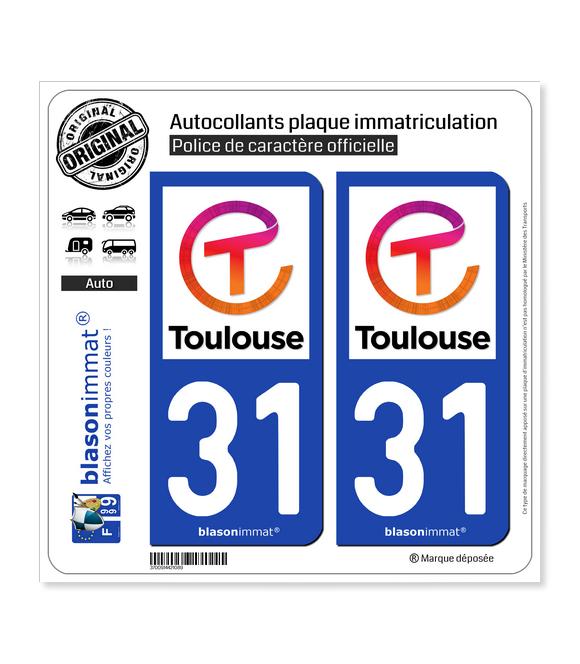 31 Toulouse - Ville II | Autocollant plaque immatriculation