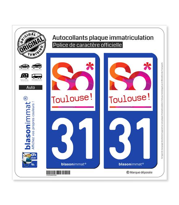 31 Toulouse - Tourisme | Autocollant plaque immatriculation
