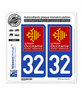 32 Occitanie - LogoType | Autocollant plaque immatriculation