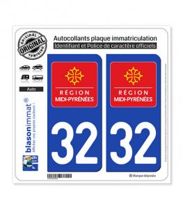 32 Midi-Pyrénées - LogoType | Autocollant plaque immatriculation