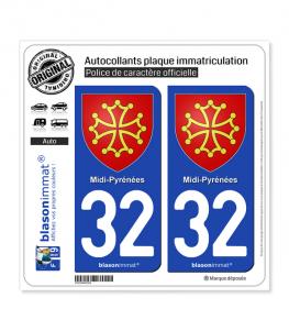 32 Midi-Pyrénées - Armoiries | Autocollant plaque immatriculation