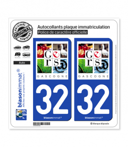 32 Gers - Département | Autocollant plaque immatriculation