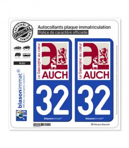 32 Auch - Ville | Autocollant plaque immatriculation