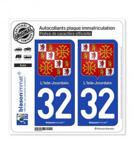 32 L'Isle-Jourdain - Armoiries | Autocollant plaque immatriculation