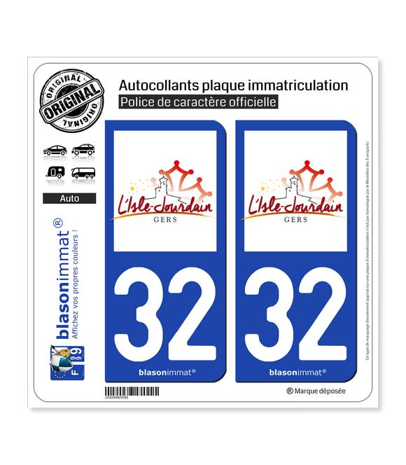 32 L'Isle-Jourdain - Commune | Autocollant plaque immatriculation
