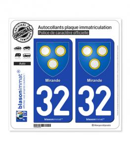 32 Mirande - Armoiries | Autocollant plaque immatriculation