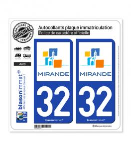 32 Mirande - Ville | Autocollant plaque immatriculation