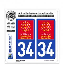 34 Languedoc-Roussillon - LogoType | Autocollant plaque immatriculation
