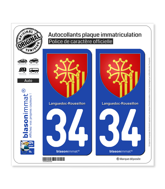 34 Languedoc-Roussillon - Armoiries | Autocollant plaque immatriculation