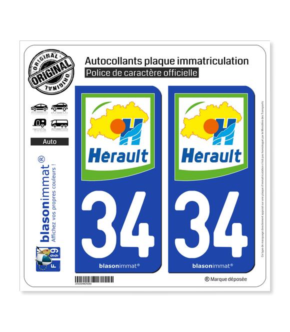 34 Hérault - Département | Autocollant plaque immatriculation