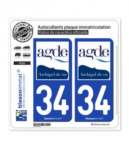 34 Agde - Commune | Autocollant plaque immatriculation