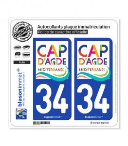 34 Agde - Le Cap | Autocollant plaque immatriculation