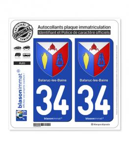 34 Balaruc-les-Bains - Armoiries | Autocollant plaque immatriculation