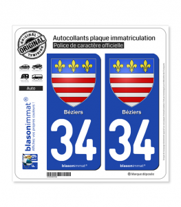 34 Béziers - Armoiries | Autocollant plaque immatriculation