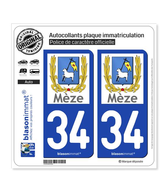 34 Mèze - Ville | Autocollant plaque immatriculation