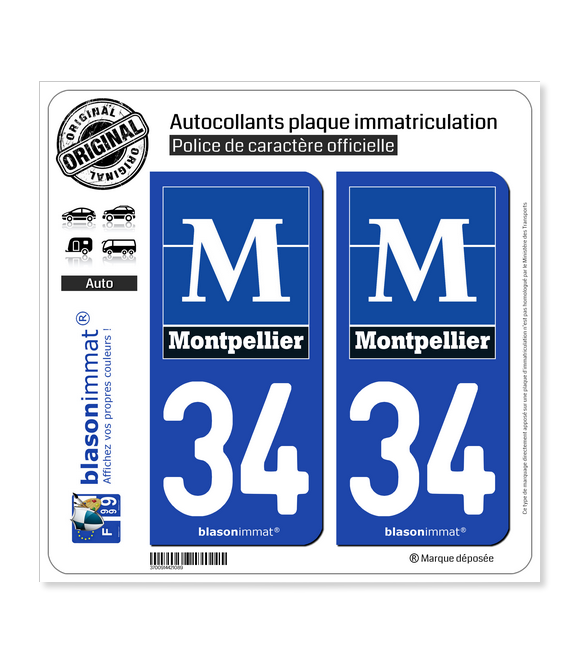 34 Montpellier - Ville | Autocollant plaque immatriculation