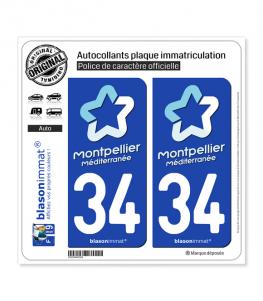 34 Montpellier - Tourisme | Autocollant plaque immatriculation