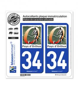 34 Orthus - Pays | Autocollant plaque immatriculation