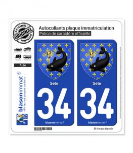 34 Sète - Armoiries | Autocollant plaque immatriculation