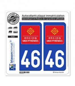 46 Midi-Pyrénées - LogoType | Autocollant plaque immatriculation