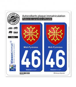 46 Midi-Pyrénées - Armoiries | Autocollant plaque immatriculation