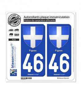 46 Figeac - Armoiries | Autocollant plaque immatriculation
