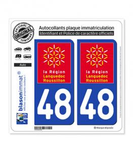48 Languedoc-Roussillon - LogoType | Autocollant plaque immatriculation
