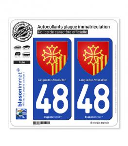 48 Languedoc-Roussillon - Armoiries | Autocollant plaque immatriculation