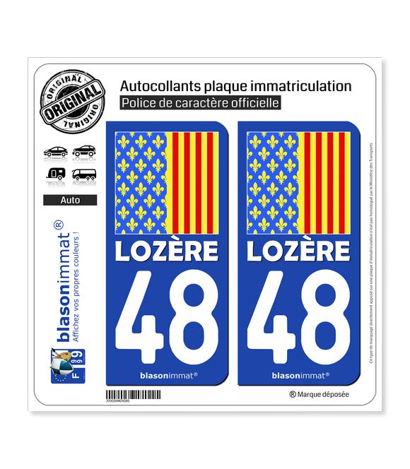 48 Lozère - Drapeau Ajusté | Autocollant et plaque immatriculation