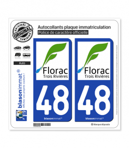 48 Florac - Ville | Autocollant et plaque immatriculation