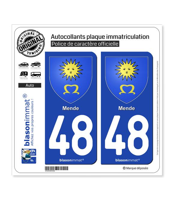 48 Mende - Armoiries | Autocollant et plaque immatriculation